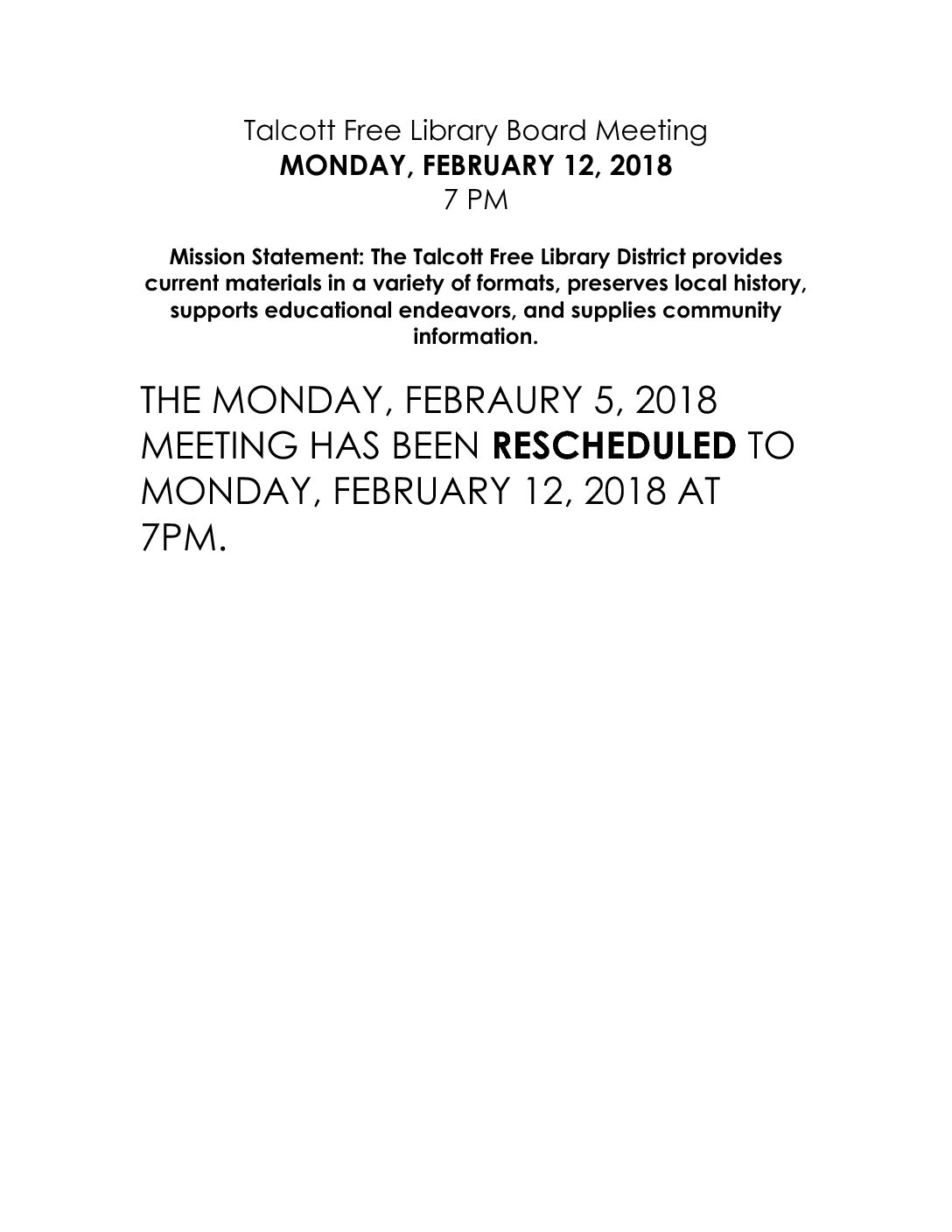 attention board meeting rescheduled talcott library