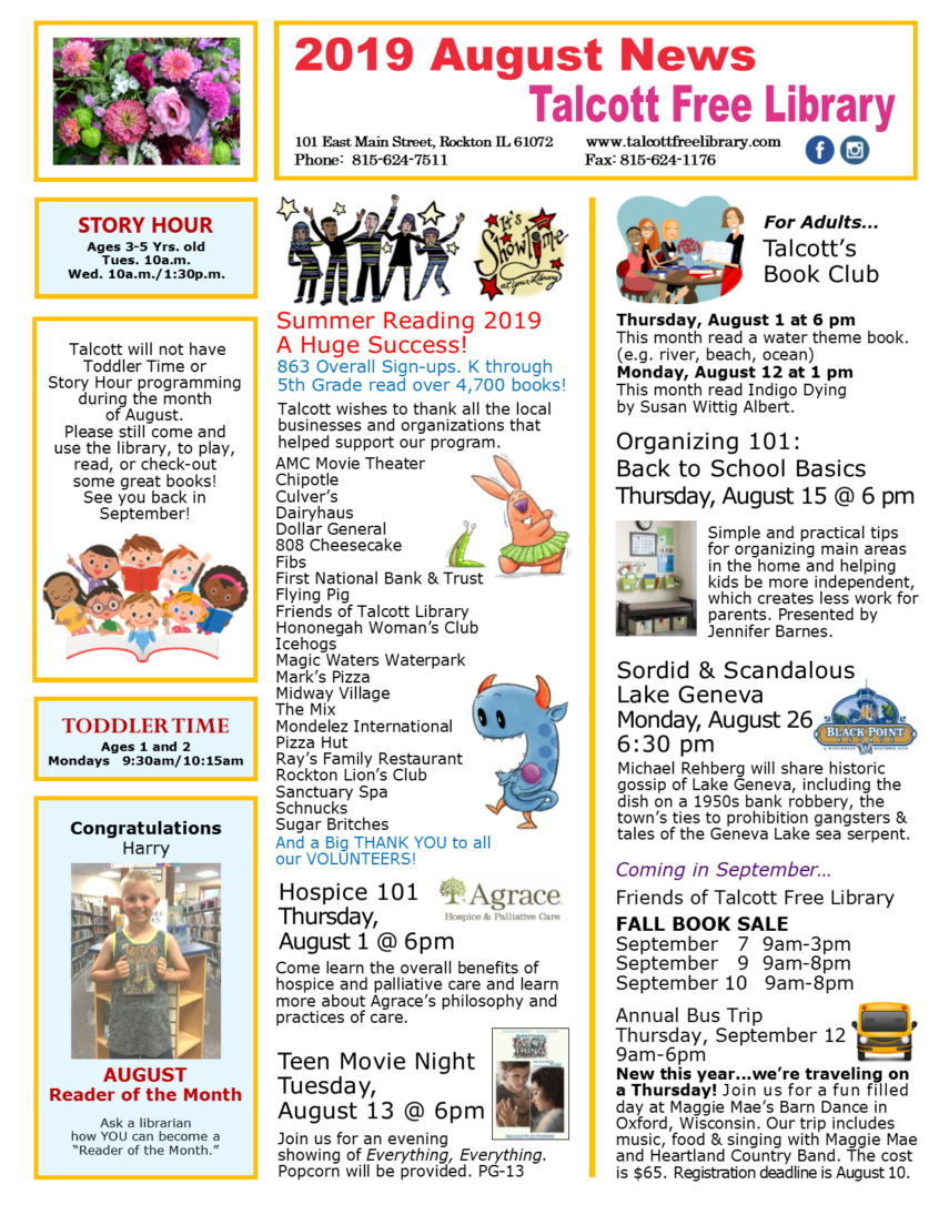 READ All About Us! August 2019 News  | Talcott Library